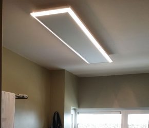 Infrared Heating Panel with integrated lights on ceiling